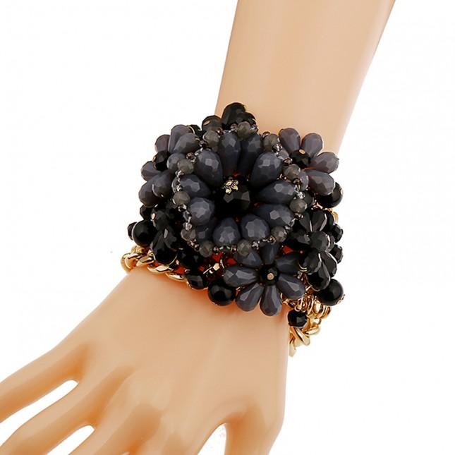 Black Beaded Wide Cuff Bracelet