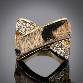 Leopard-Print Crossover Statement Ring