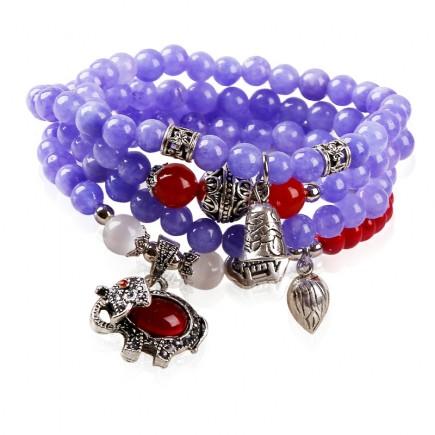 Purple Bead Statement Bracelet