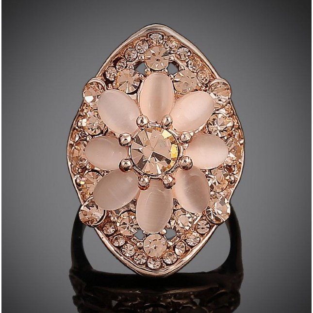 Flower Pink Opal Ring