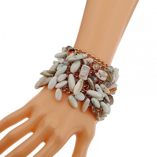 10 Rows Gemstone Charm Bracelet