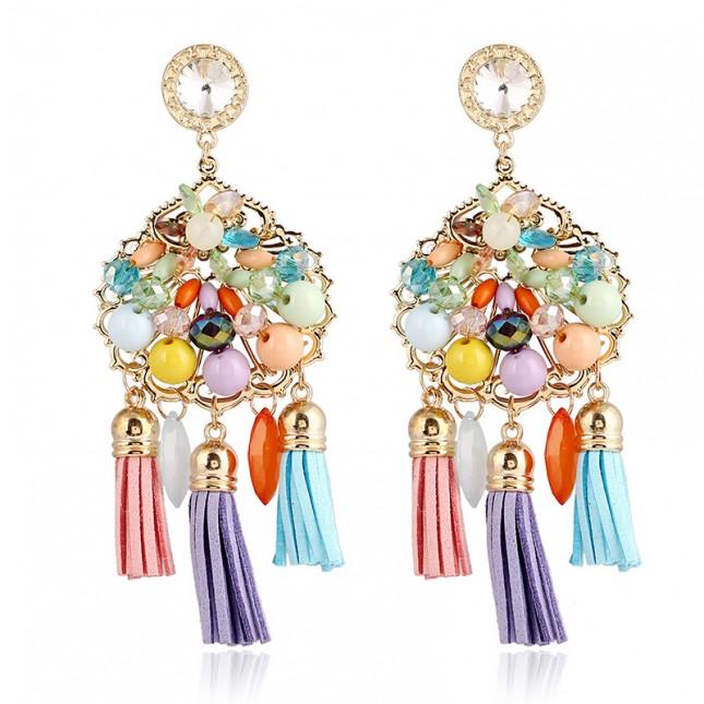 Colorful Beaded Chandelier Earrings