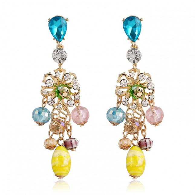 Sapphire Bead Chandelier Earrings