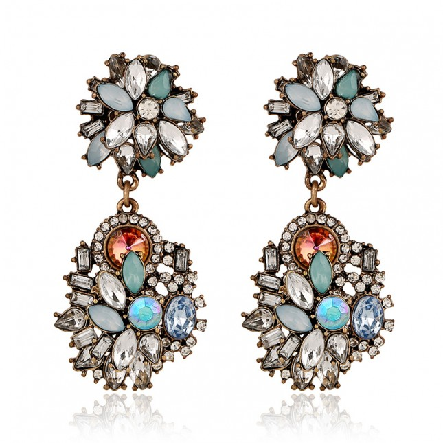 Colored Zircon Statement Earrings