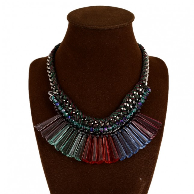 Colorful Crystal Bar Bib Necklace