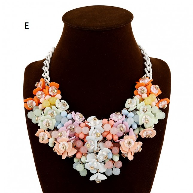 Multicolor Bead Stacked Flower Necklace