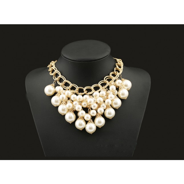 Big Pearls Large Bib Necklace