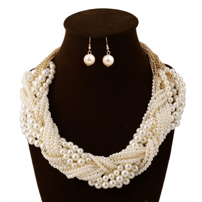 Layering Pearl Bib Hoop Necklace Set