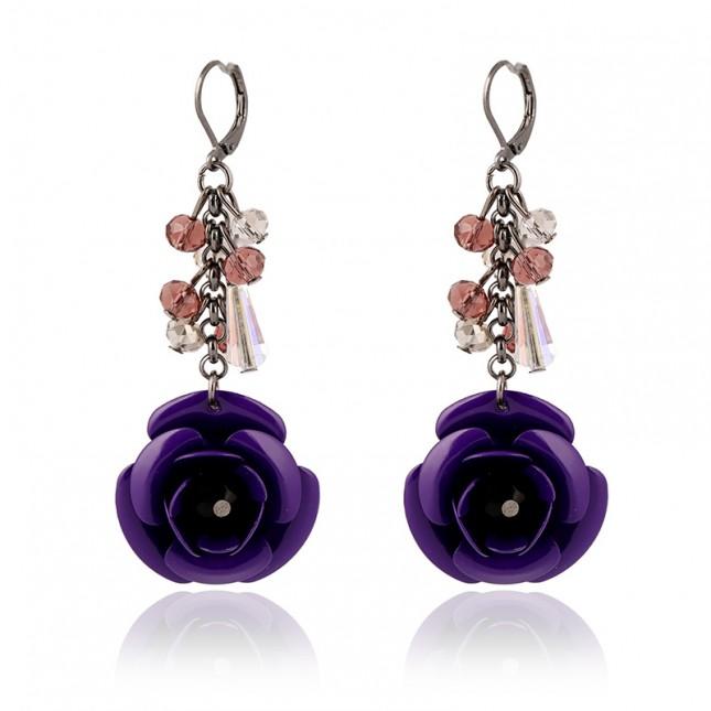 Purple Cute Flower Dangle Earrings