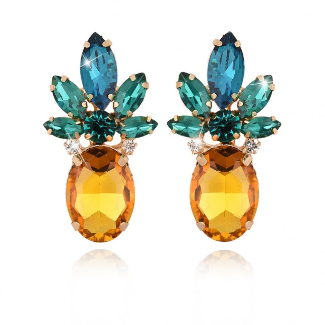 Yellow Blue Pineapple Earrings e029