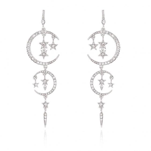 Moon Star Gold Crystal Earrings e048
