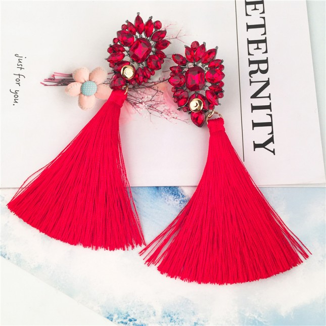 Red Gems Cluster Tassels Earrings e052