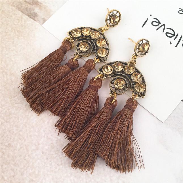Brown Sector Shape Rhinestones Tassels Drop Earrings e088