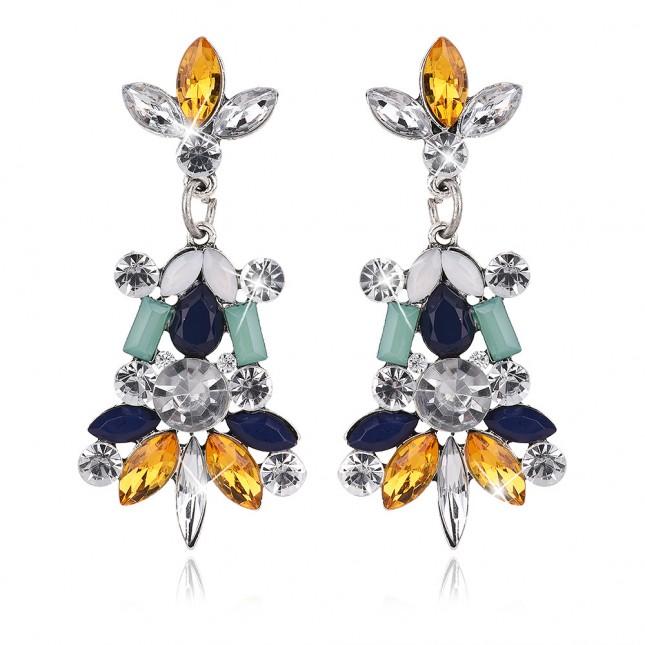 Color Cluster Rhinestones Drop Earrings e090