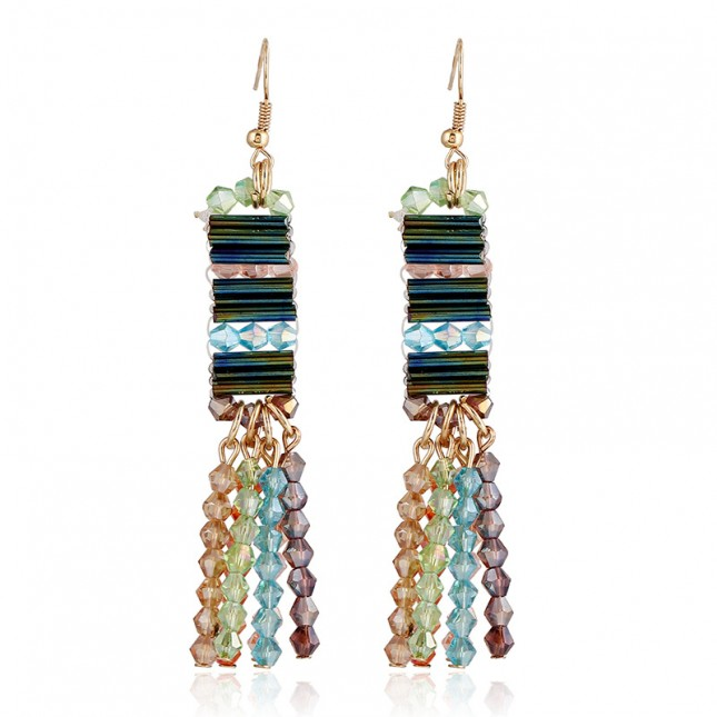 Color Beads Dangle Earrings e110