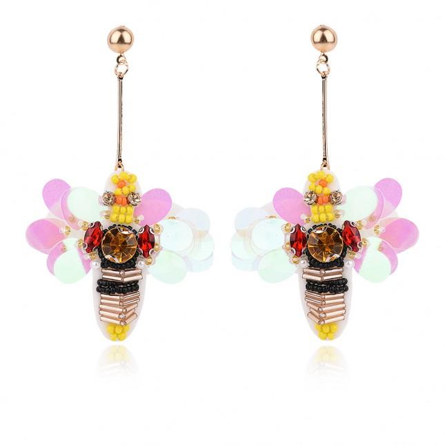 Bee Design Long Drop Statement Earrings e112
