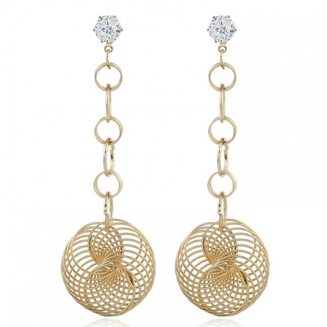 Gold Hollow Ball Drop Statement Earrings e123