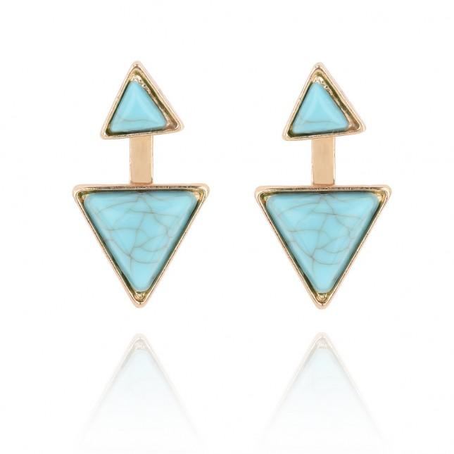 Blue Gems Triangle Statement Earrings e132
