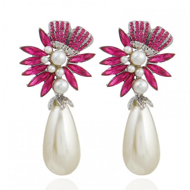 Rose Red Rhinestones Pearl Drop Earrings e134