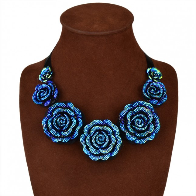Coloful Flower Statement Necklace