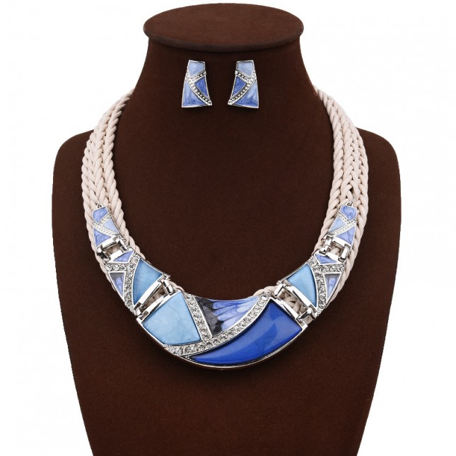 Blue Geometry Design Chunky Necklace Earrings Set n114