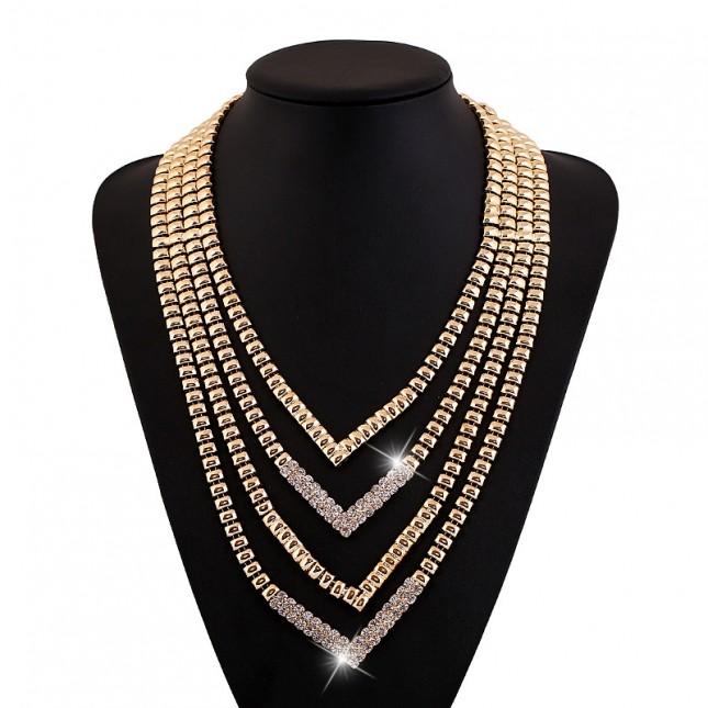 Golden Rhinestone Layered Necklace