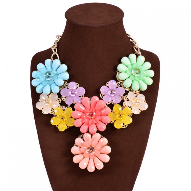 Flower Gemstone Costume Necklace