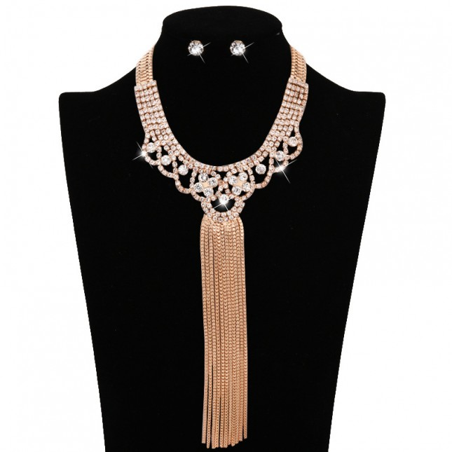 Drop Rhinestone Bauble Necklace Earrings