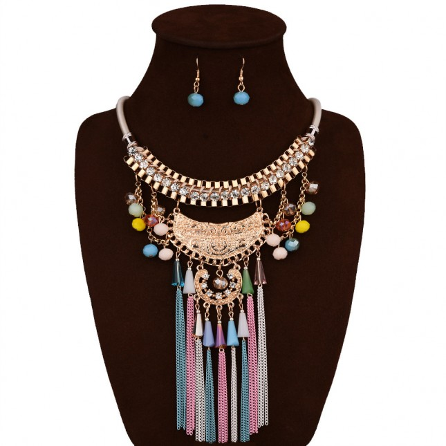 Long Colorful Bead Bib Necklace Sets