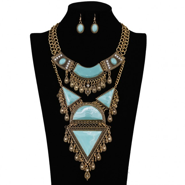 Golden Chunky Costume Necklace Earrings