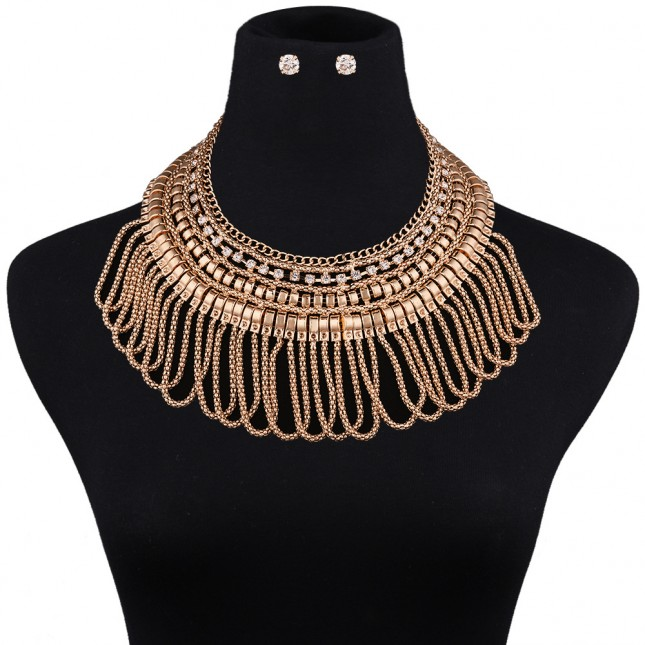 Chunky Bib Tassels Necklace Sets