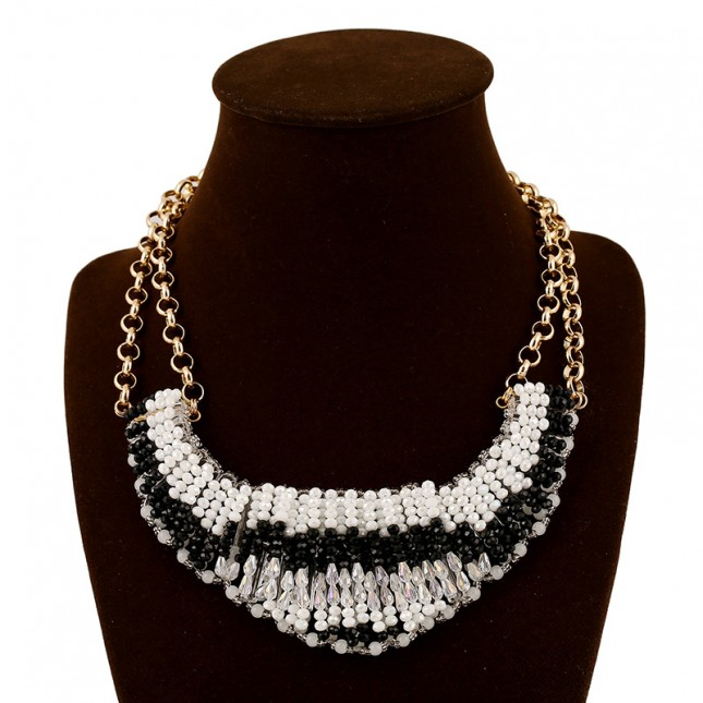 Black White Beads Bib Necklace