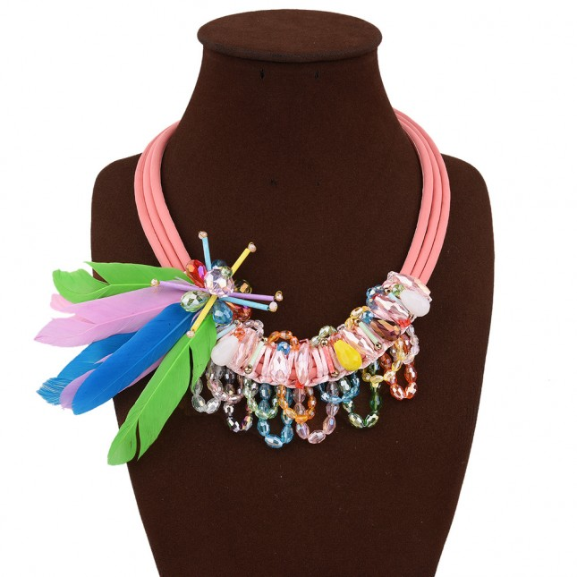 Color Feather Crystal Flower Necklace n051