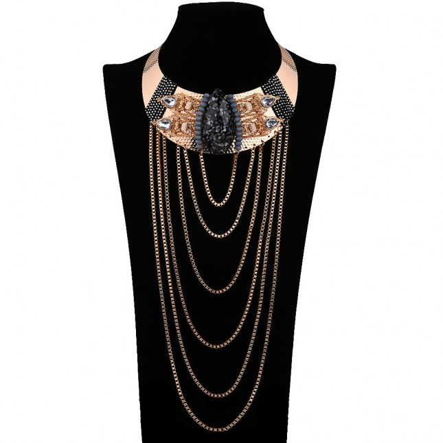 Layered Crystal Statement Necklace