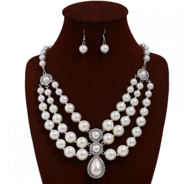 Multi Layering Pearls Necklace Earrings n076