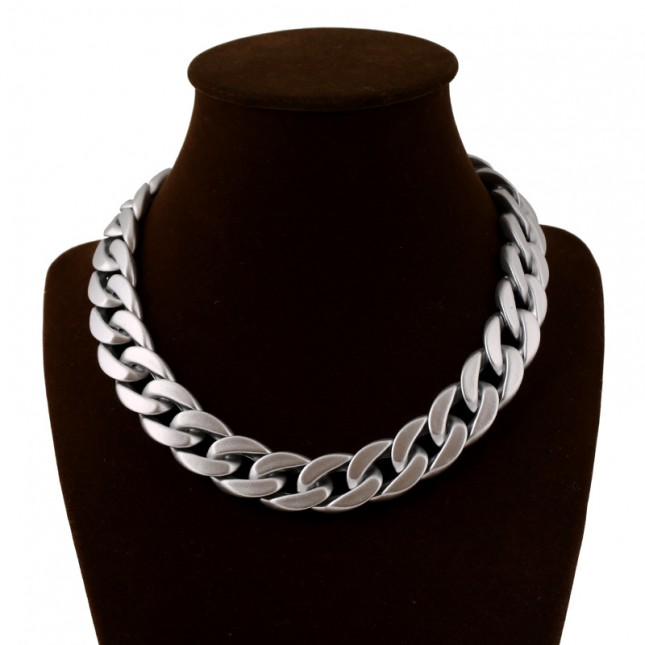 Collar Hoop Statement Silver Necklace