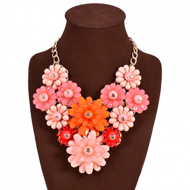 Flower Cluster Costume Necklace