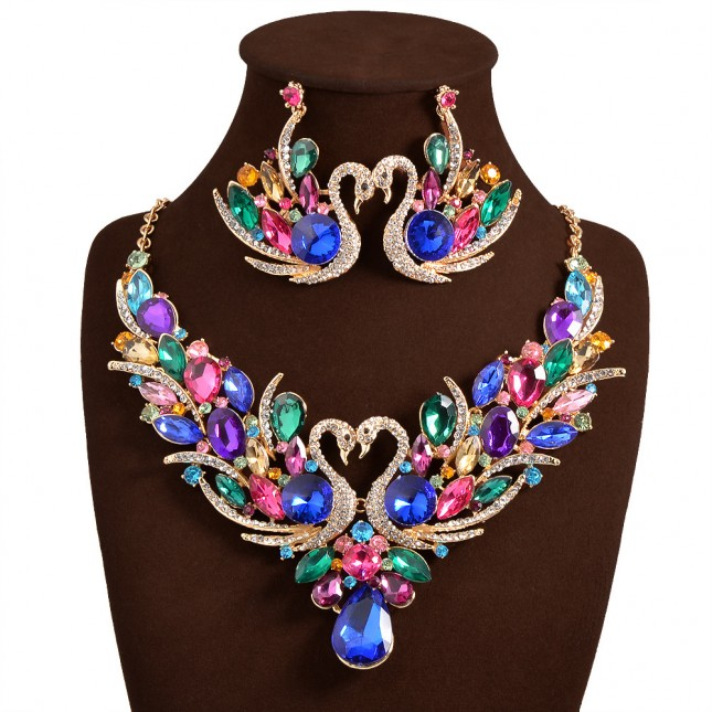 Color Crystal Necklace Earrings Set