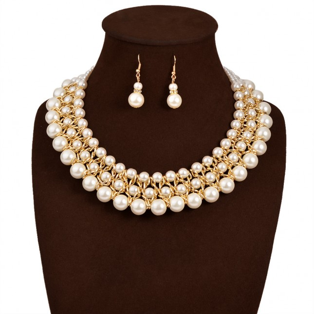Layered Pearl Collar Bib Necklace Earrings n094