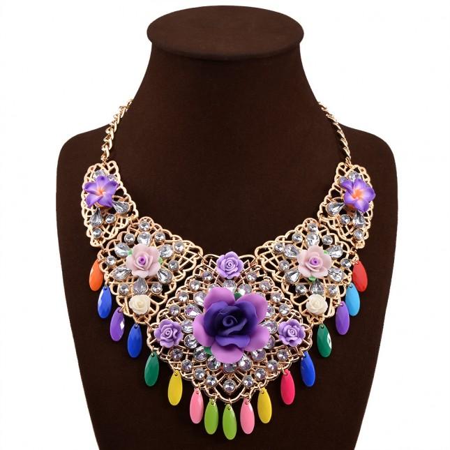 Crystal Cluster Flower Necklace