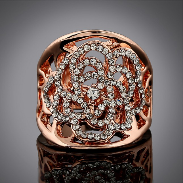Flower Crystal Gold Statement Ring