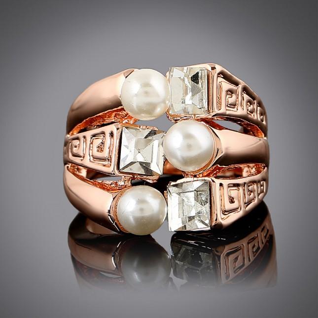 Three White Pearl Statement Ring