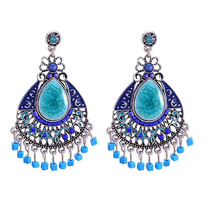 Blue Turquoise Bead Chandelier Earrings E016