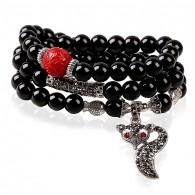 Black Beaded Fox Cuff Bracelet
