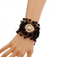 Flower Beaded Cuff Bracelet