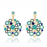 Colored Circle Statement Earrings