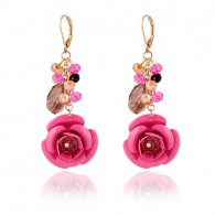 Red Cute Flower Dangle Earrings