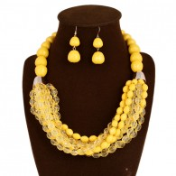 Yellow Beaded Statement Jewelry Set
