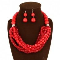 Red Beaded Statement Jewelry Set