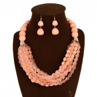 Pink Beaded Statement Jewelry Set